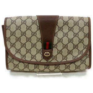 💯Auth Gucci Clutch Browns Canvas